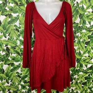 5 for $25 Forever 21 Red Faux Wrap Dress